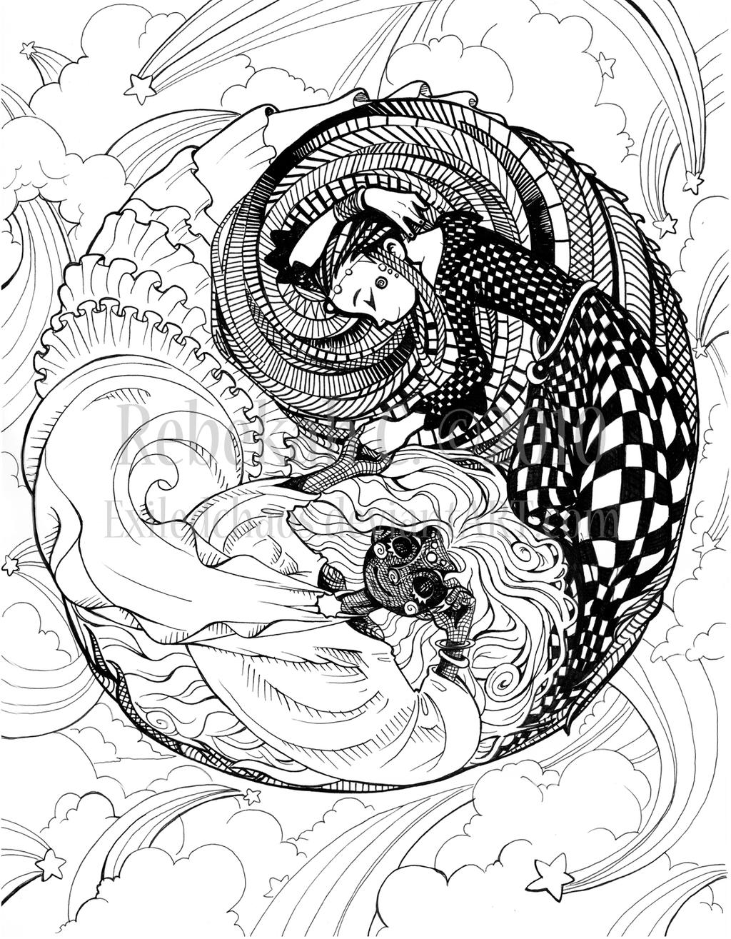 Coloring Pages Yin Yang : Herron coloring book yin yang by exiledchaos on deviantart