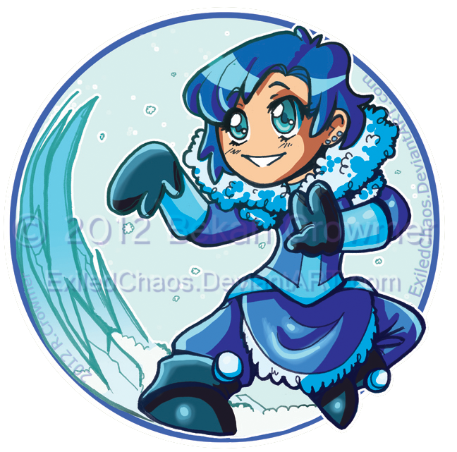 Chibi Waterbender Ami : Button by ExiledChaos