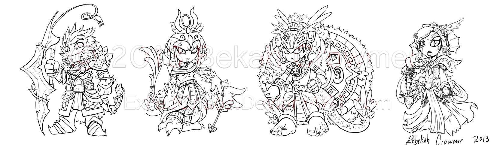 Champion chibis Lineart by ExiledChaos