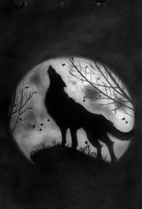 How To Draw Wolf And Moon