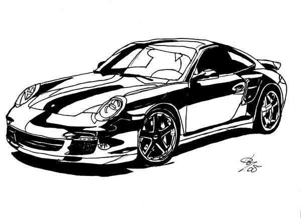 black porsche line drawing by AlexBaxtheDarkSide