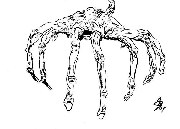 Face Hugger Drawing 01 By AlexBaxtheDarkSide On DeviantArt
