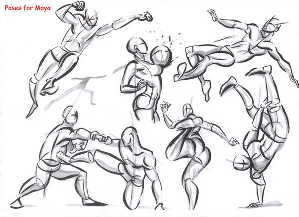 fighting poses for maya10 by AlexBaxtheDarkSide on DeviantArt