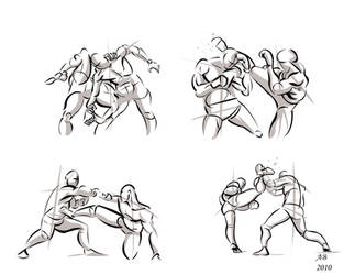 Fighting poses in photoshop01 by AlexBaxtheDarkSide