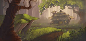 Forest Background Painting by AlyssaTallent