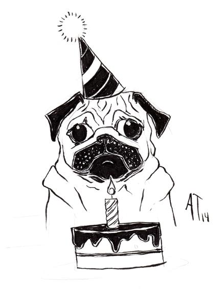 INKtober 20 - Birthday Pug by AlyssaTallent