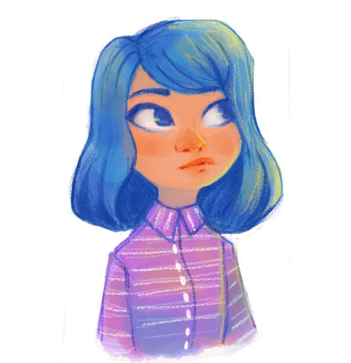 phone sketch- Blue Hair by AlyssaTallent
