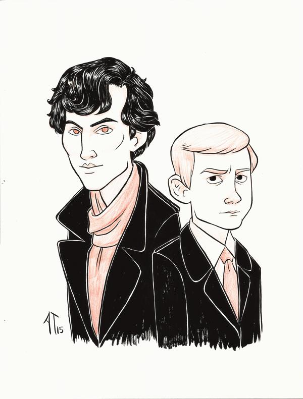 Sherlock and Watson - INKtober by AlyssaTallent