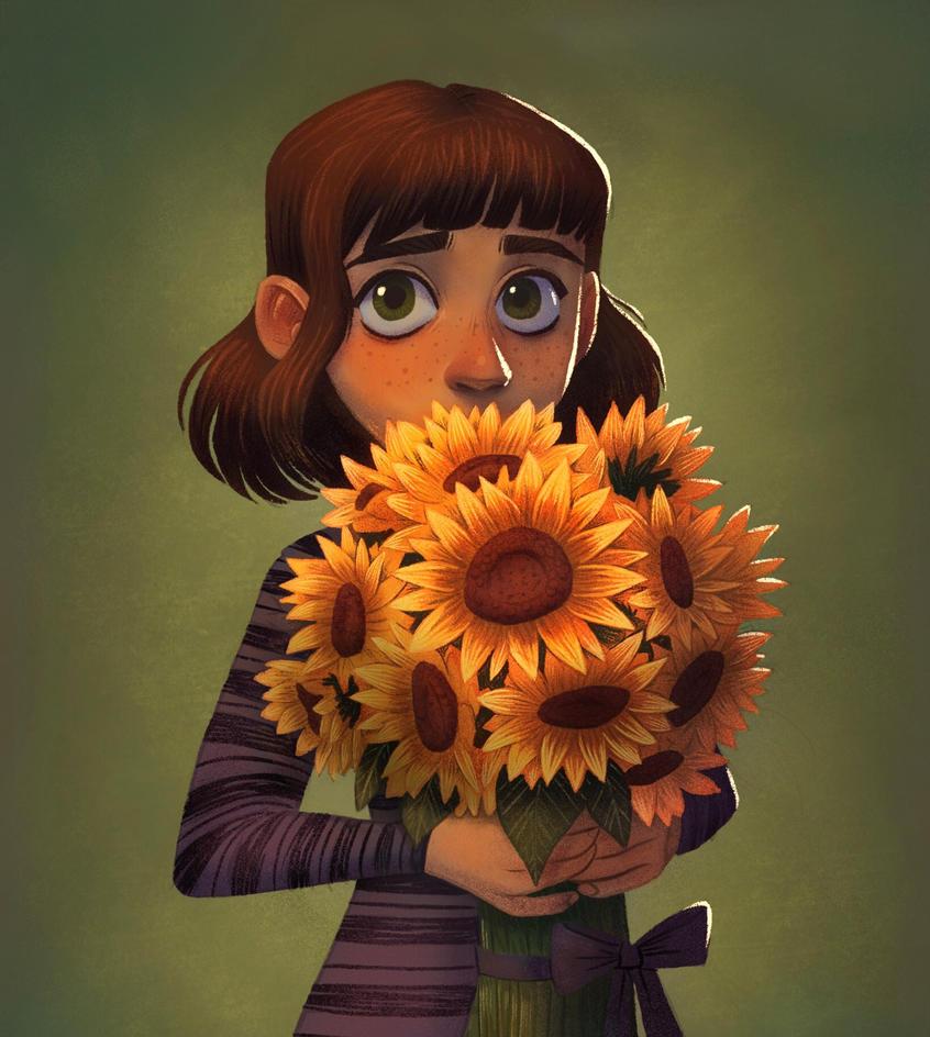 Shy Sunflower Girl by AlyssaTallent