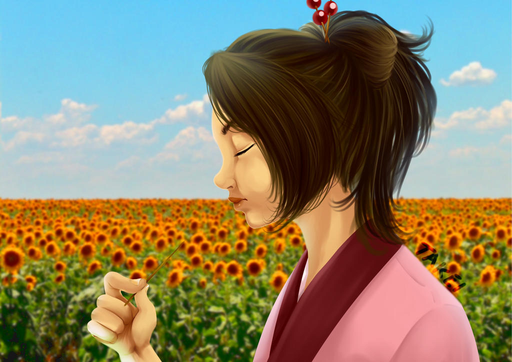 Surrounded by the scent of Sunflowers by Shun-Takei
