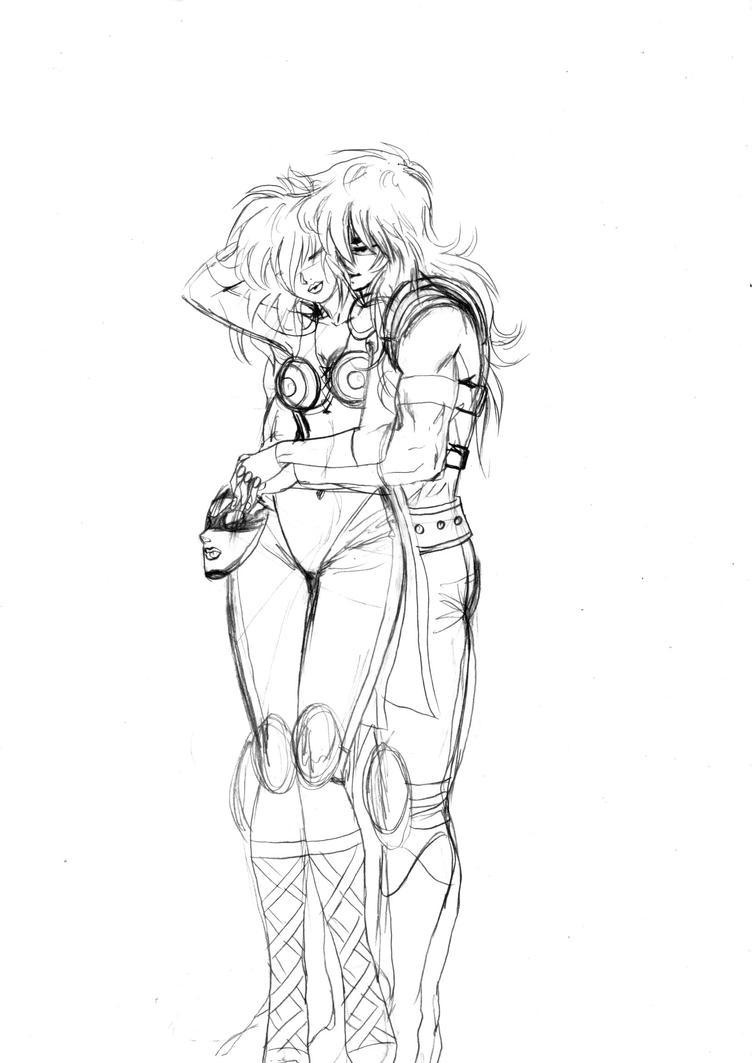 Milo + Shaina hug by Nizhan