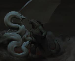 Godzilla vs. King Ghidorah by NaramSinha