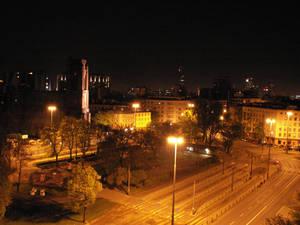 Narutowicz Square at night