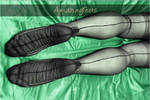 Sexy Soles and Legs on Silky Green Satin Sheets
