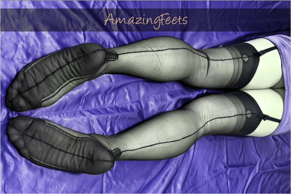 Hot Legs and Feet in Nylons on Purple Silk