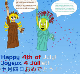 Spyler and Cinnamon as statues of Liberty