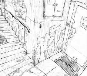 Staircase in a dirty alley~