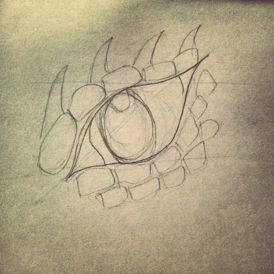 Dragon eye pencil sketch outline by katiee e