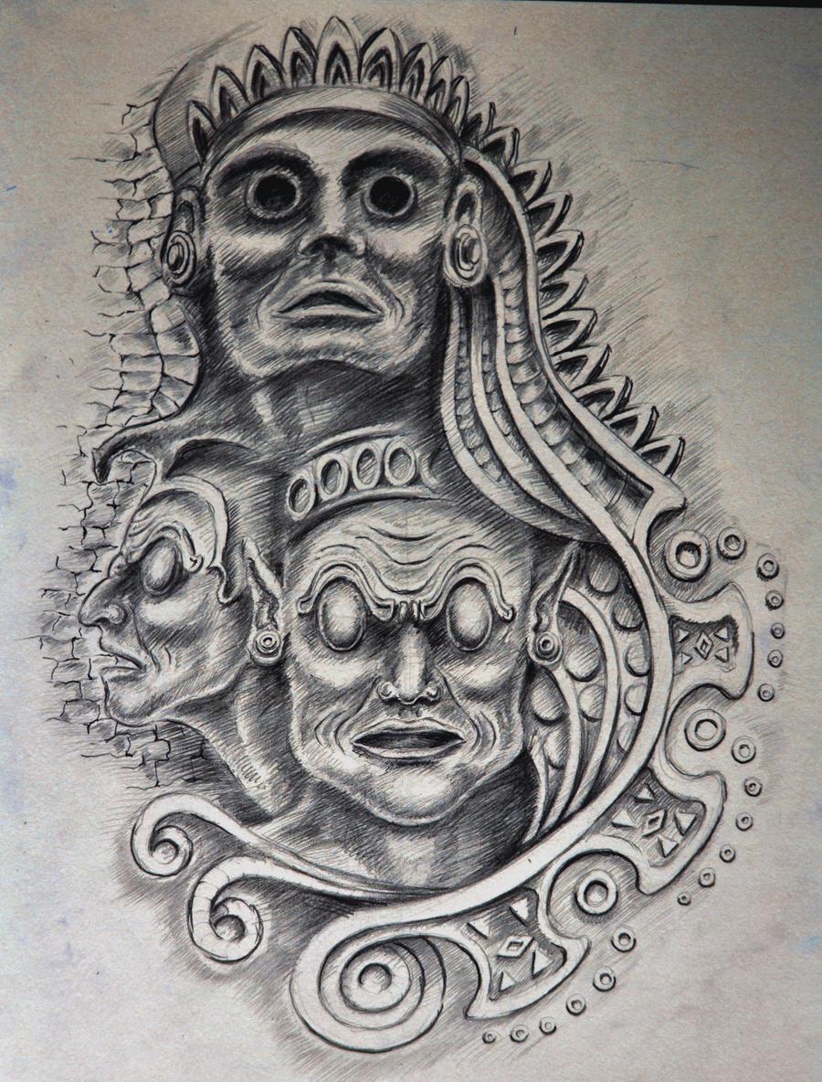 Mayan Gods Tattoo Drawings