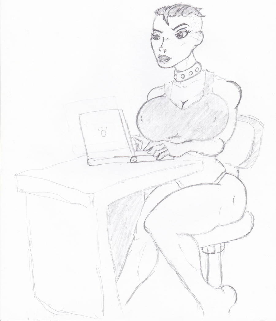 germaine at her laptop by bero3000