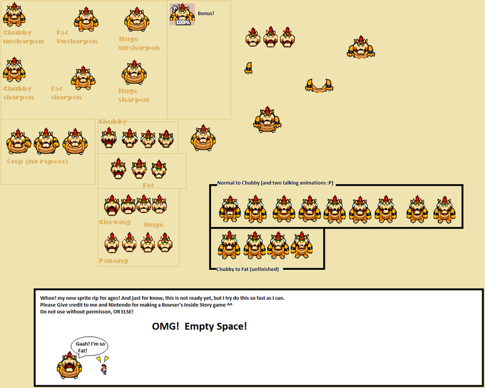 Fat bowser Sprite sheet by Shorkio