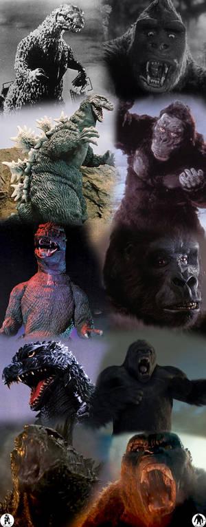 Godzilla and Kong through history