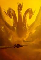 Godzilla KOTM - Ghidorah Poster   Textless by Awesomeness360