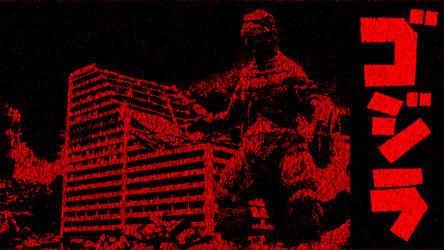 Retro Godzilla In Dark Red by Awesomeness360