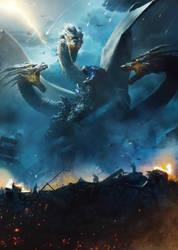 Godzilla KOTM Godzilla Vs. Ghidorah textless by Awesomeness360