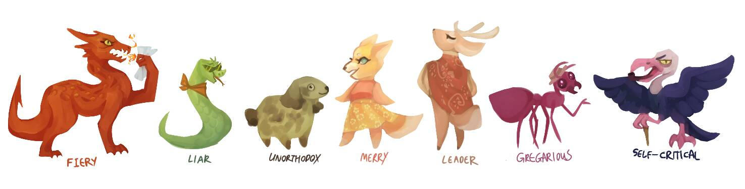A bunch of personality critters