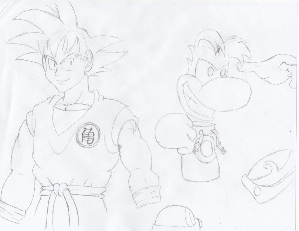 Brawlfan1s sketches son goku and rayman by w00twithbrawl