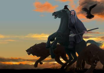 Odin at dawn by fedde