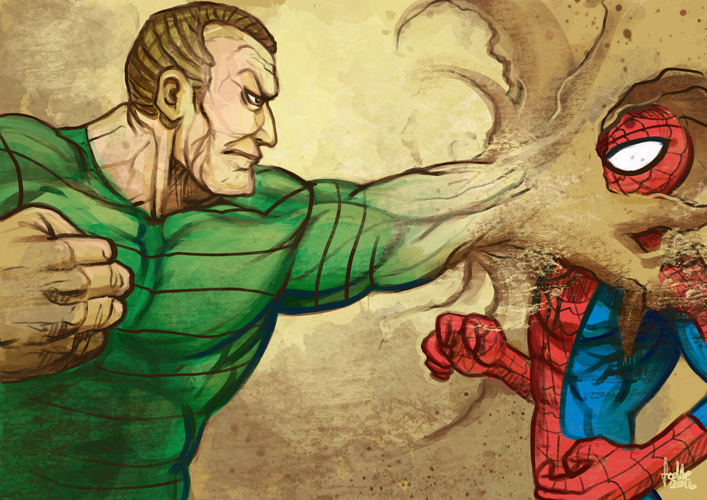 Daily Sketches Sandman vs Spiderman by fedde on DeviantArt