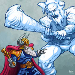 Daily Sketches Odin VS. Ymir by fedde