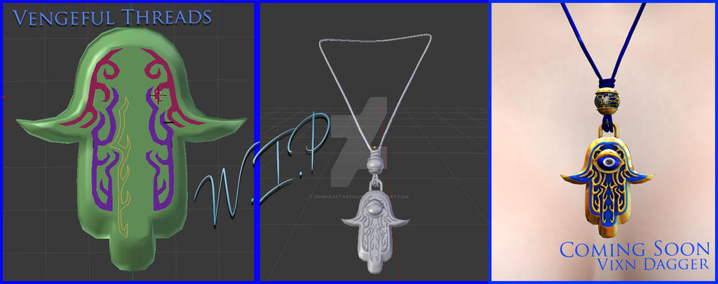 WIP Hamsa Necklace by DowneastArtisan