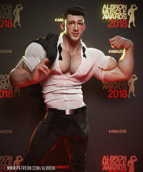 Nick, flexing, ripping his shirt on the red carpet by albron111