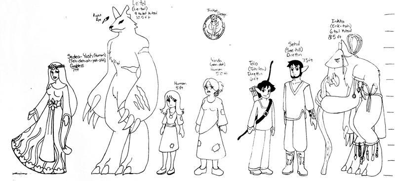 Single Line Character Art : Character line up by kirincomics on deviantart