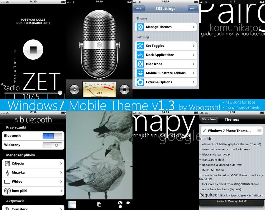 Windows 7 Phone Theme 1.3 by woocash-kun