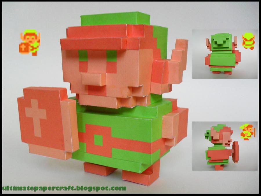 Zelda 3D 8 Bit Link Papercraft by squeezycheesecake