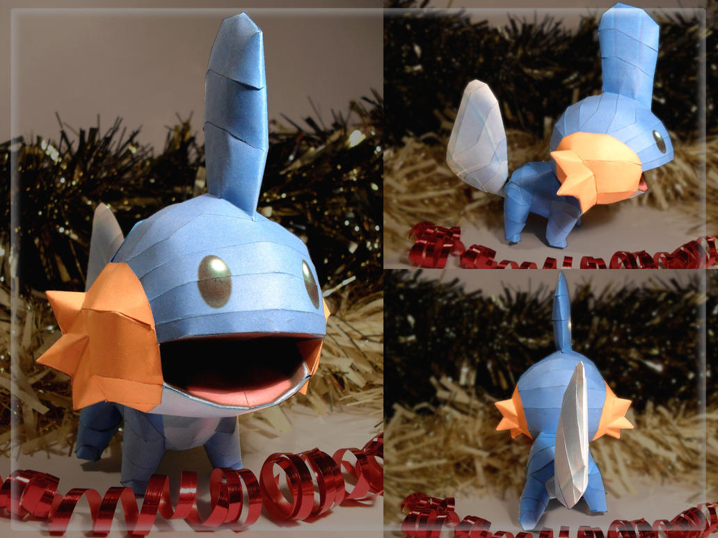 Secret Santa Gift: Mudkip Papercraft by squeezycheesecake