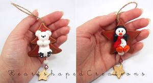 Set Of 2 Wooden Xmas Ornaments