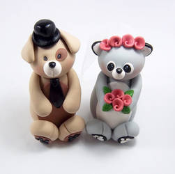 Dog and Racoon Cake Topper by HeartshapedCreations