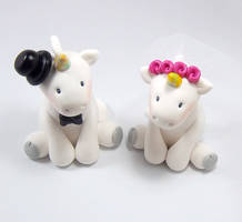 Unicorns Wedding Cake Topper by HeartshapedCreations