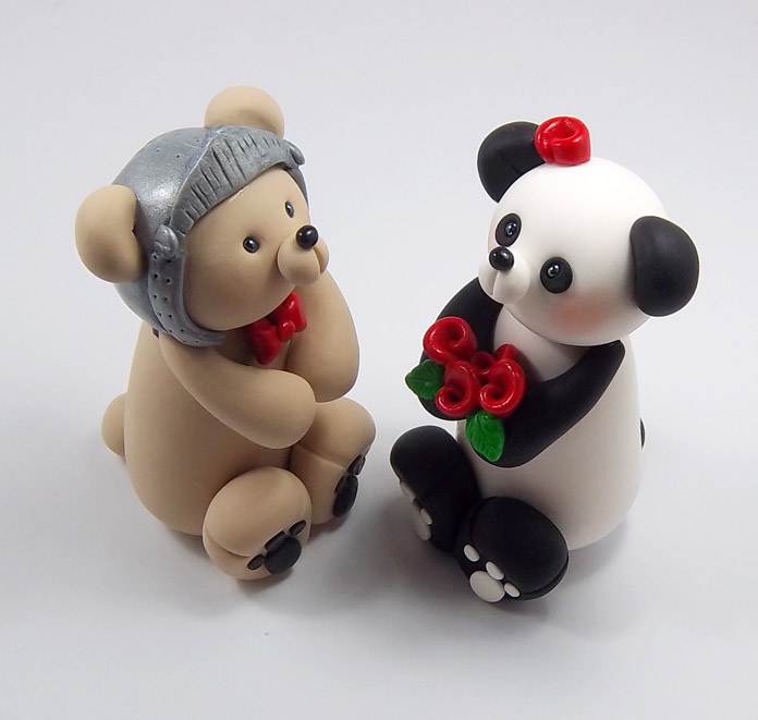 knight bear and panda wedding cake topper by