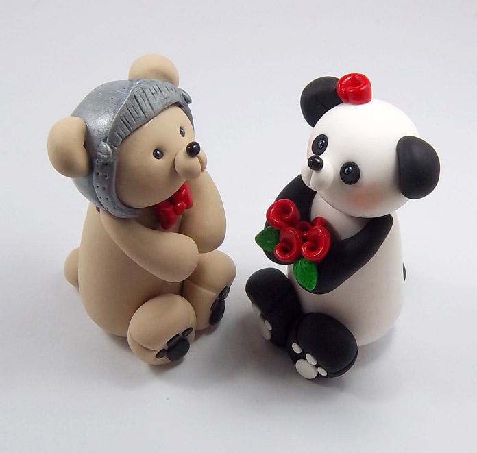Knight Bear And Panda Wedding Cake Topper By HeartshapedCreations