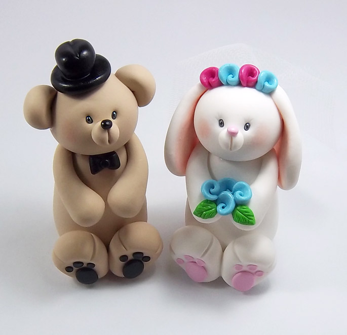 Bear And Bunny Wedding Cake Topper By HeartshapedCreations