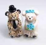 Cheetah and Polar Bear Wedding Cake Topper