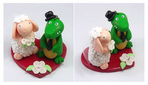 Crocodile and Sheep Wedding Cake Topper by HeartshapedCreations