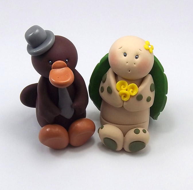 Platypus and Turtle Wedding Cake Topper by HeartshapedCreations on ...