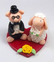 Pig and Sheep Wedding Cake Topper by HeartshapedCreations
